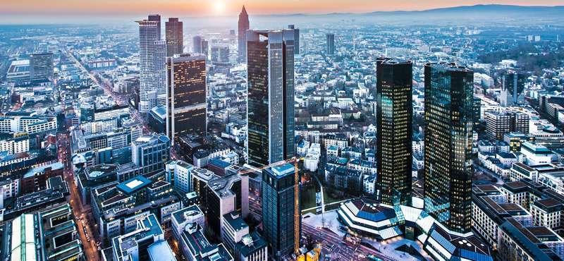 CityGames FFM: Frankfurt von oben im Sonnenuntergang